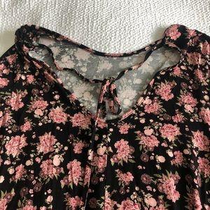 Francesca's black & pink floral long sleeve dress
